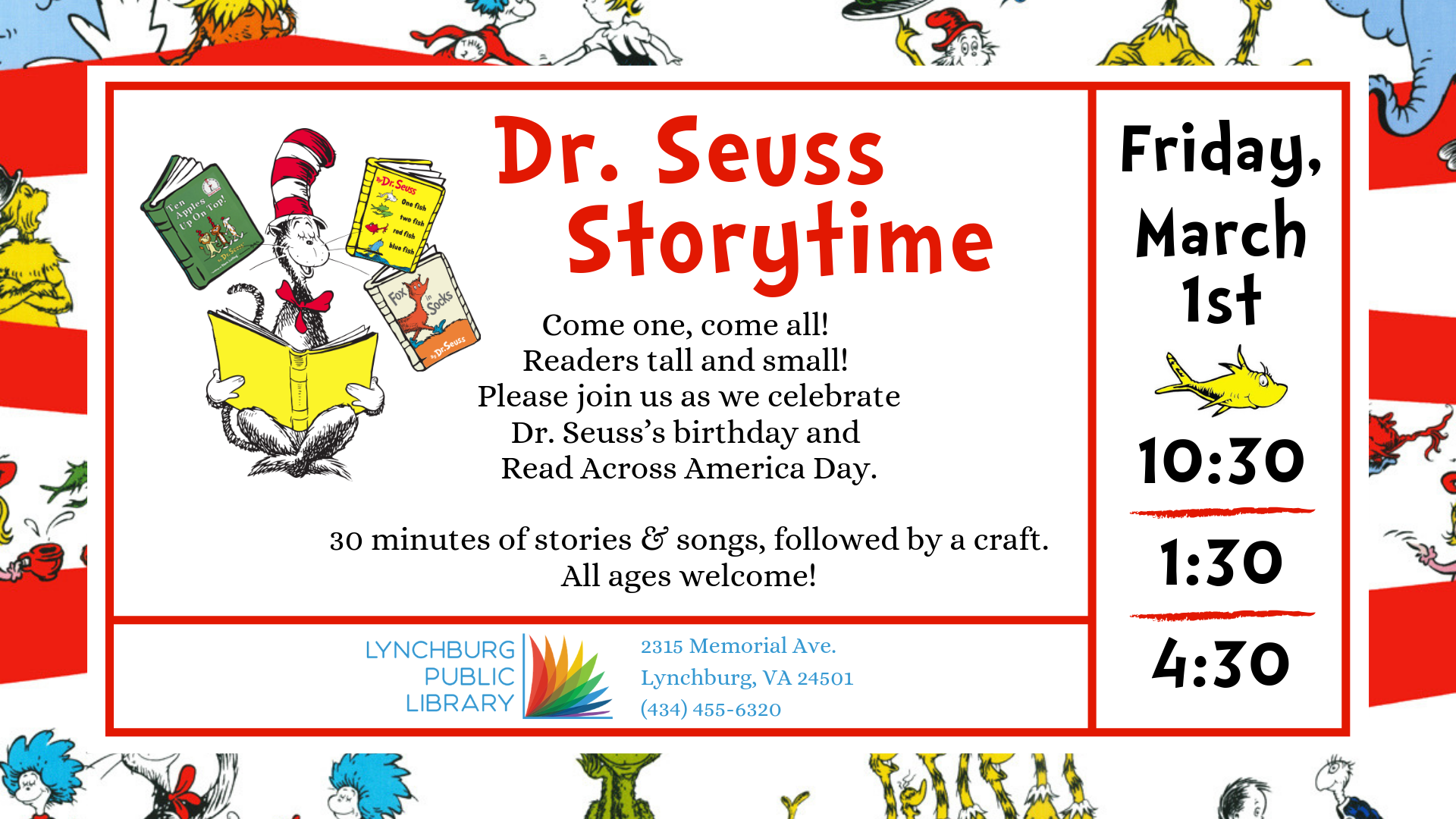 Dr. Seuss Storytime & Craft @ Youth Services Department