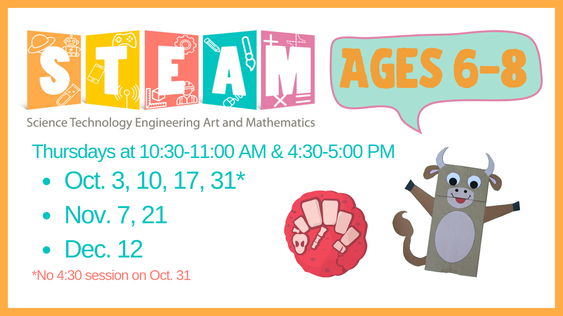 STEAM 6-8 yr. olds @ Youth Services Department