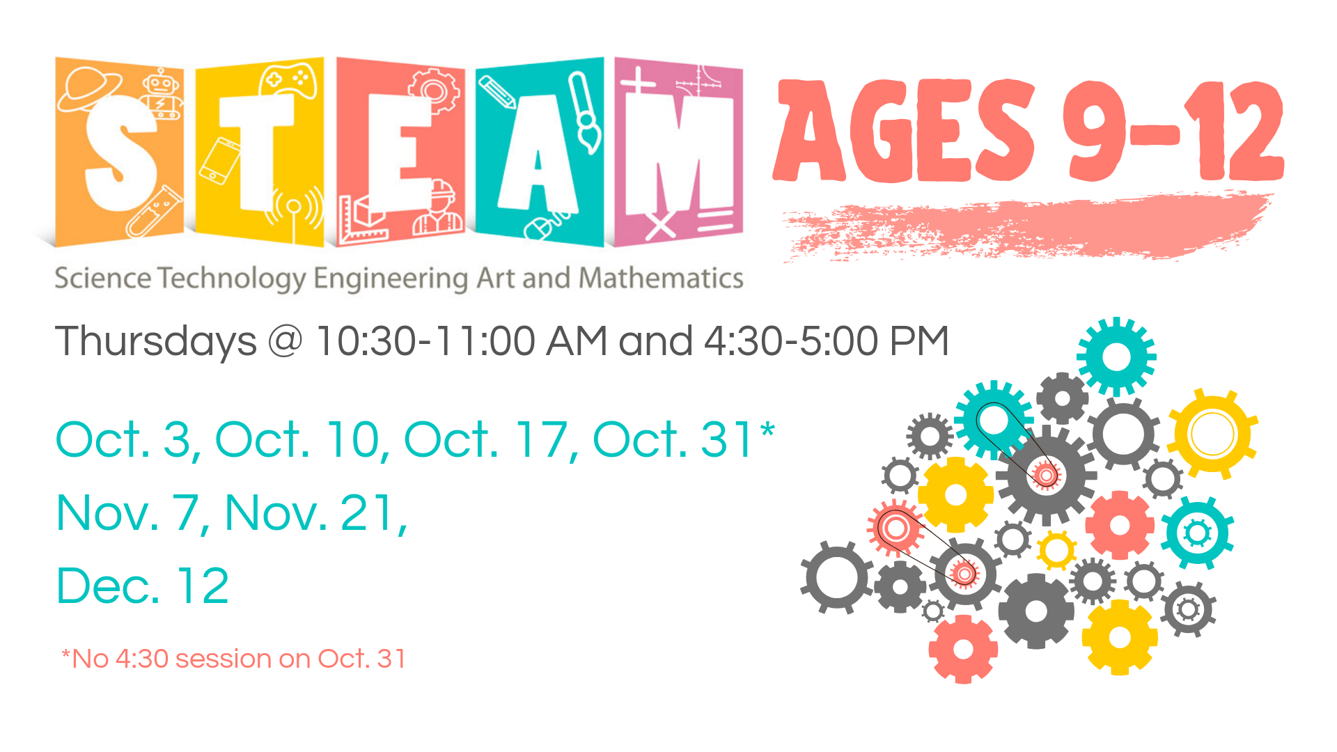STEAM 9-12 yr. olds @ Youth Services Department